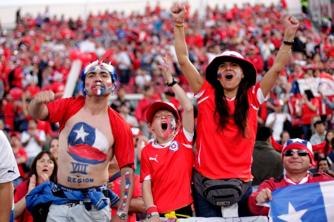 The chilean fans cheer their team prior to the qualifying to Brazil 2014 football match against Ecuador held at National stadium in Santiago, Chile
